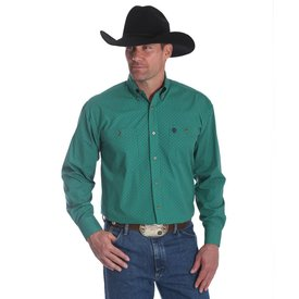 Wrangler Men's George Strait Green Print Button Down Shirt C4