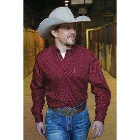 Cinch Men's Dark Red Button Down Shirt C3