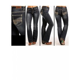 ROCK&ROLL DENIM Women's Rock & Roll Cowgirl Mid Rise Boot Cut Jean W1-4595