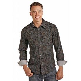 Rock & Roll Cowboy Men's Black and Grey Paisley Snap Front Shirt C4 2X-Large