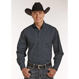 Panhandle Men's Navy Pattern Button Down Shirt C4