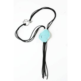 West & Co. Turquoise Stone Slab Bolo Necklace
