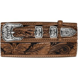 Tony Lama Men's Floral Embossed Bandera Belt