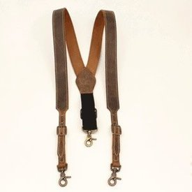 Nocona Belt Co. Men's Brown Leather Suspenders