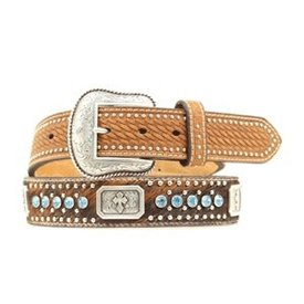 Nocona Belt Co. Men's Cowhide Blue Crystal Belt