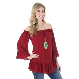 Wrangler Women's Wine Colored Off The Shoulder Shirt