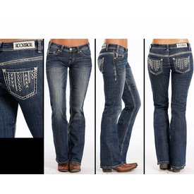 Rock and Roll Cowgirl Ivory Arrow Riding Jean