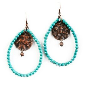 West & Co. Turquoise and Copper Indian Charm Earrings