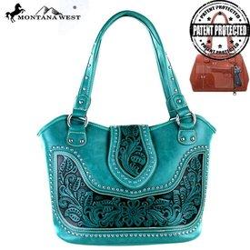 Montana West Women's Montana West Tooled Conceal Carry Handbag WRLG-8005 TQ