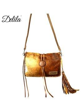 Montana West Women's Delila Hair-On Hide Crossbody Bag LEA-6021 BR