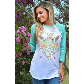 Crazy Train Ranch Rose Bronc Baseball Tee Size Large