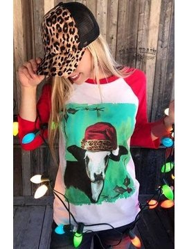 Crazy Train Mooey Christmas Baseball Tee
