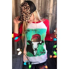 Crazy Train Mooey Christmas Baseball Tee Size Small