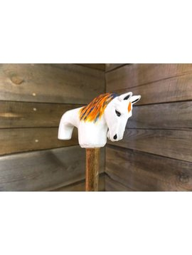 Unique Canes Hand Carved Wood Cane White Horse Design