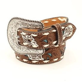 Nocona Belt Co. Girl's Floral Turquoise Western Belt