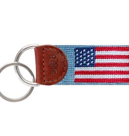 Smather's & Branson Key Fob American Flag Antique Blue