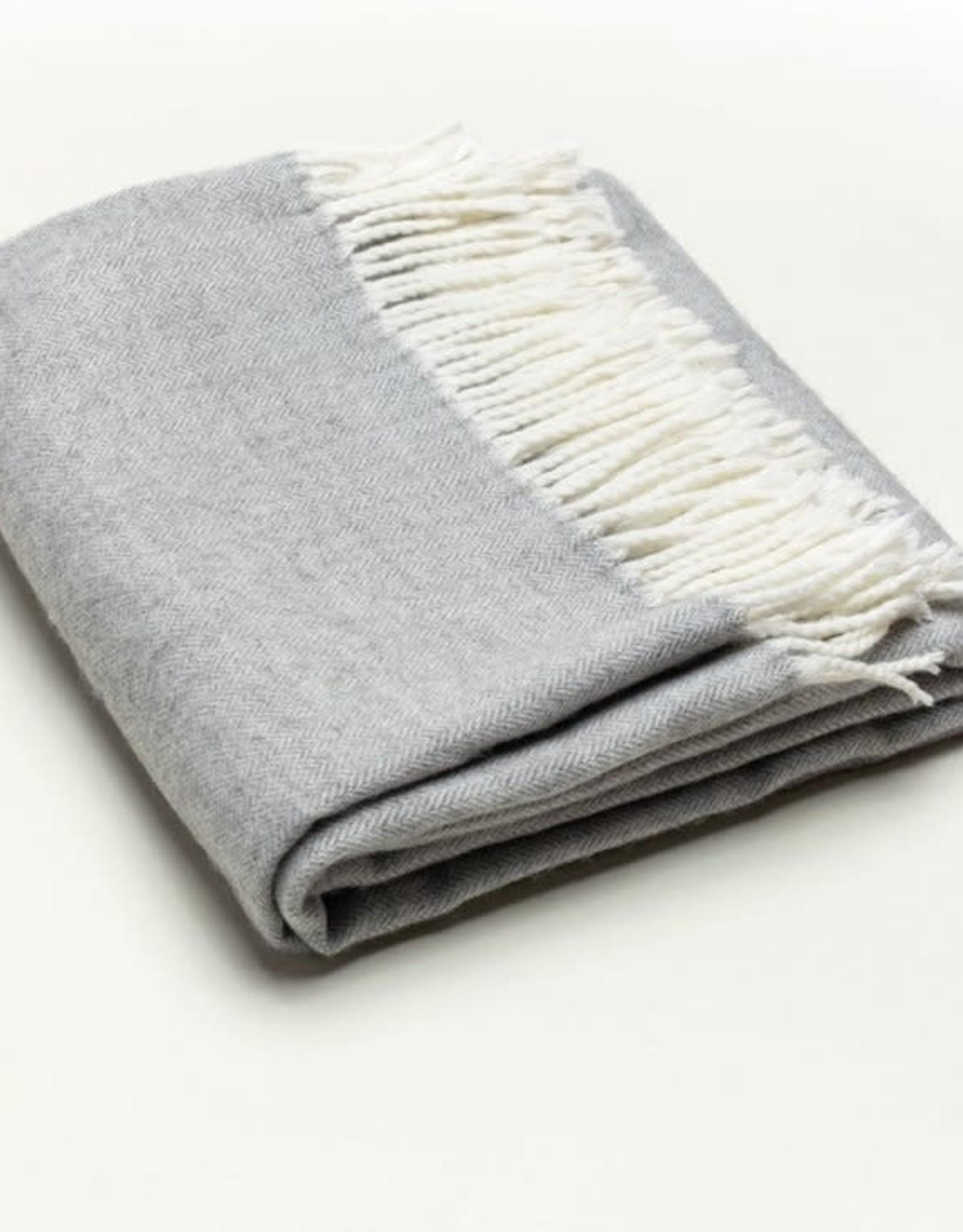 A Soft Idea Herringbone Throw Light Grey