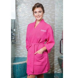 Terry Town Waffle Robe Short Hot Pink