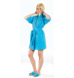 Terry Town Waffle Robe Short Aqua