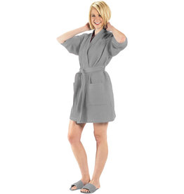 Terry Town Waffle Robe Short Grey