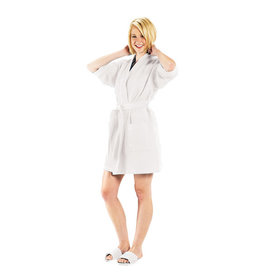 Terry Town Waffle Robe Short White