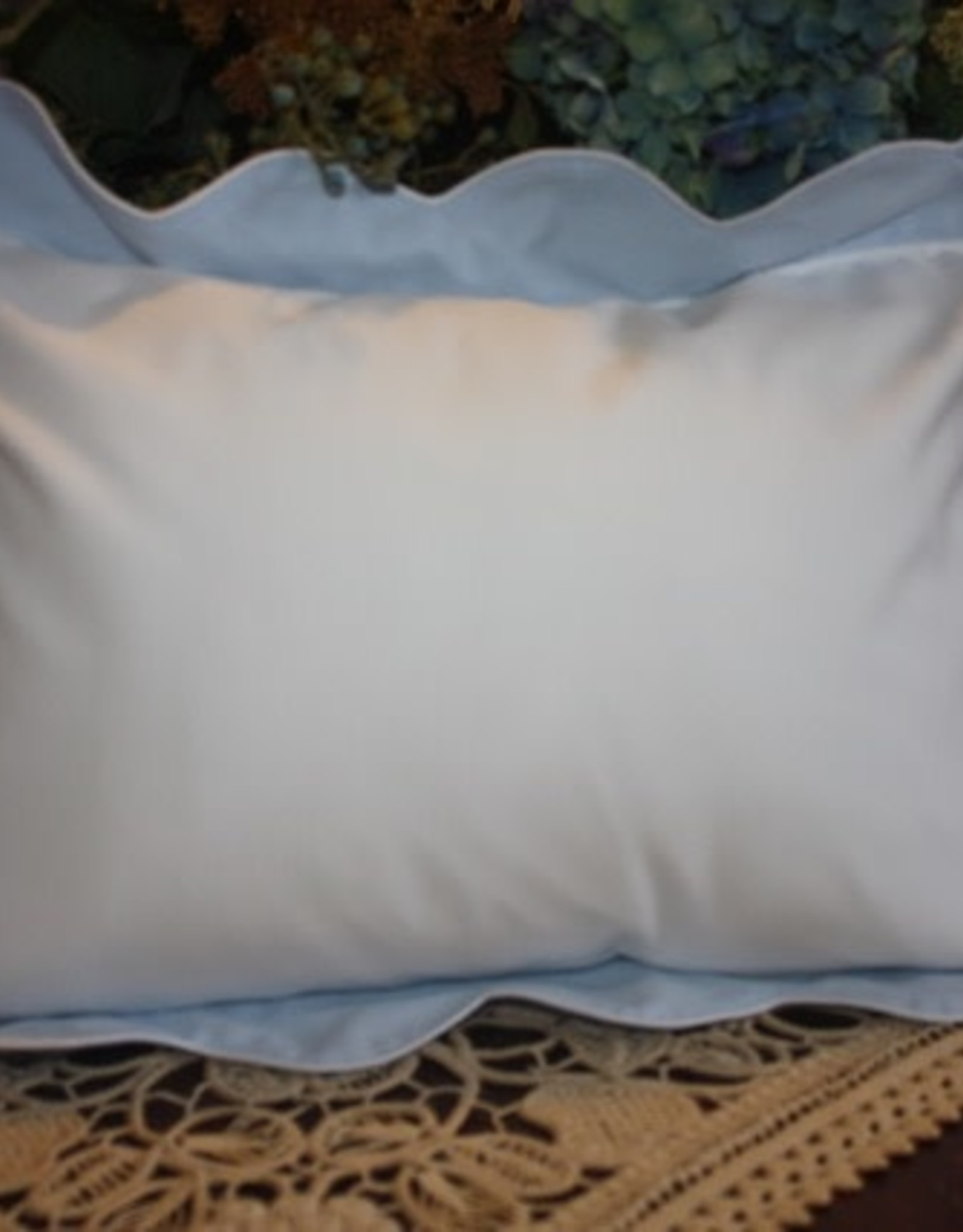 Pillow 2-Tone Blue Waves White Piping