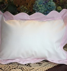 Pillow 2-Tone Pink Waves White Piping