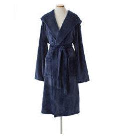 Pine Cone Hill Selke Fleece Hooded Robe Indigo