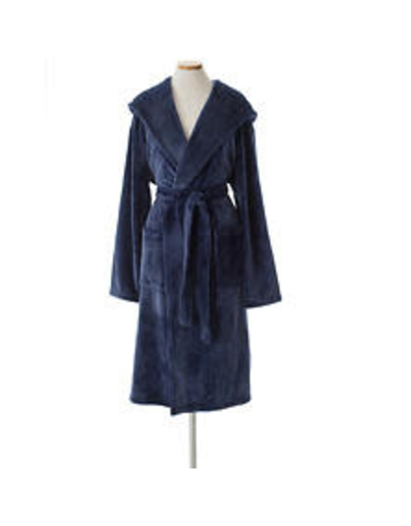 Pine Cone Hill Selke Fleece Hooded Robe Indigo