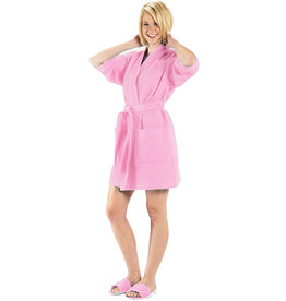Terry Town Waffle Robe Light Pink Short