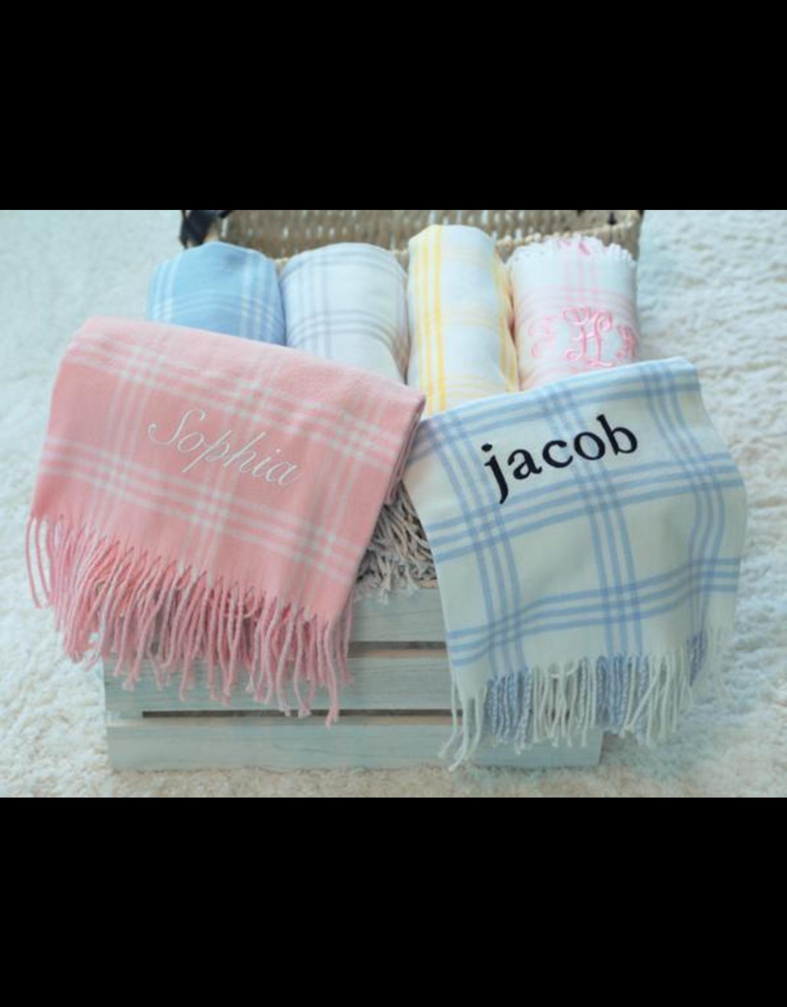 A Soft Idea Blanket 28x36 Windowpane Pink/White