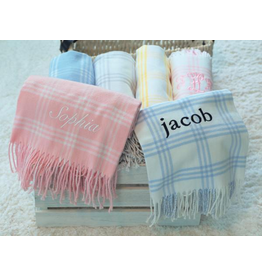 A Soft Idea Blanket 28x36 Windowpane Pink/White