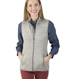 Charles River Apparel Women's heathered fleece Vest Light Grey