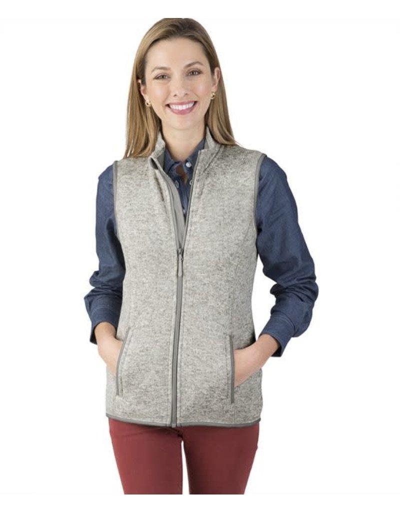 Women's heathered fleece Vest Light Grey