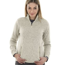 Charles River Apparel Women's heathered fleece 1/4 zip  Oatmeal