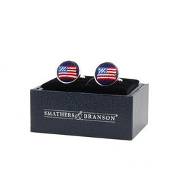 Smather's & Branson Cuff Links American Flag Navy