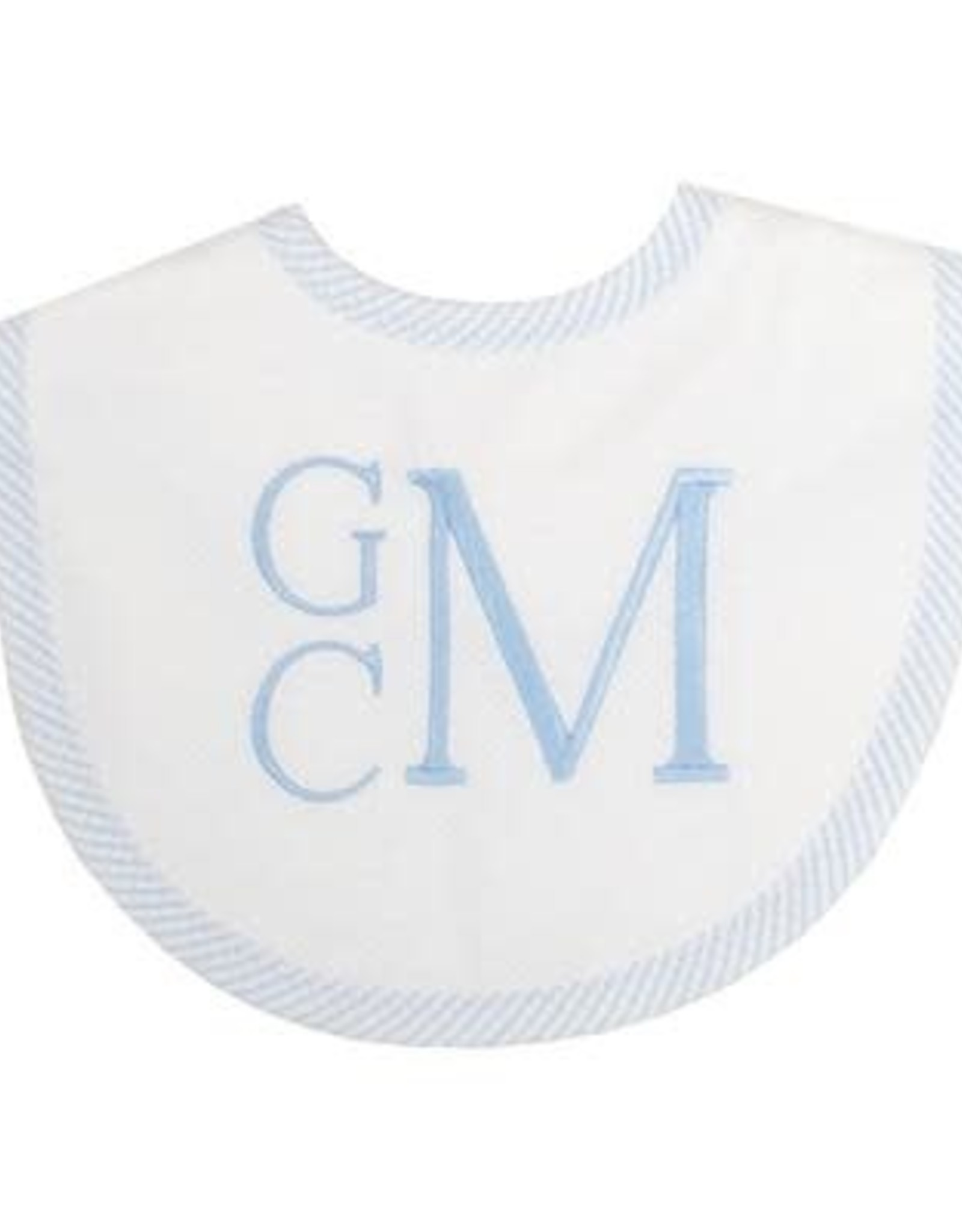 Three Marthas Bib Basic Pique Blue Seersucker