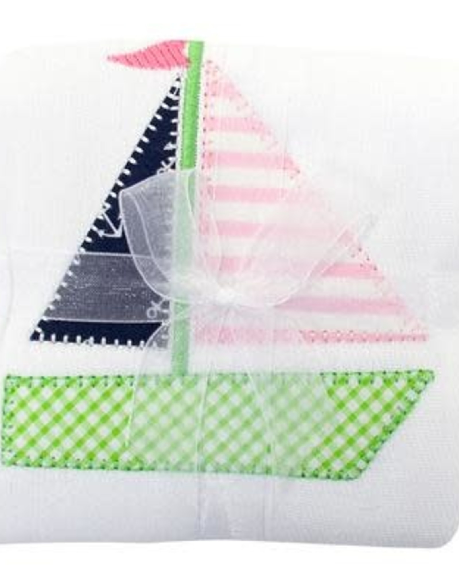 Three Marthas Burp Appliqued Sailboat Girl