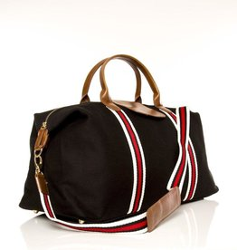 Brouk & Co Original Duffle Black Canvas red/white Stripes