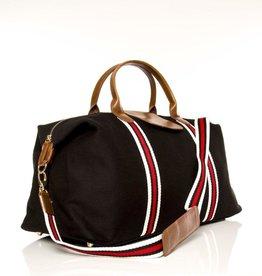 Brouk & Co Original Duffle Black Canvas red/white Stripes