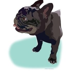 Paper Russells Tea Towel French Bulldog Black