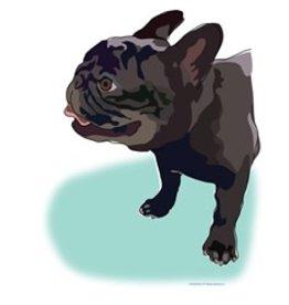 Paper Russells Tea Towel French Bulldog Black