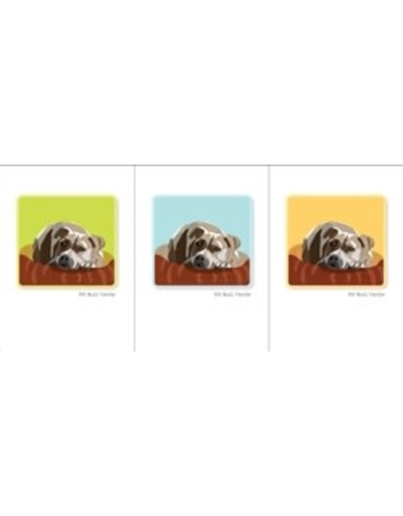 Paper Russells Pit Bull Terrier Head Down