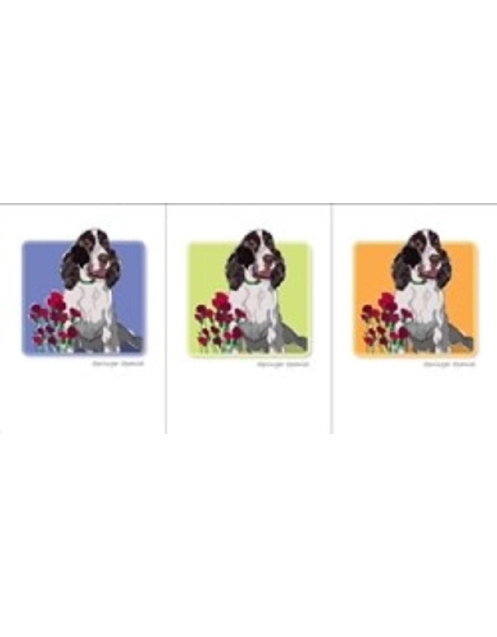 Paper Russells Springer Spaniel w/flowers