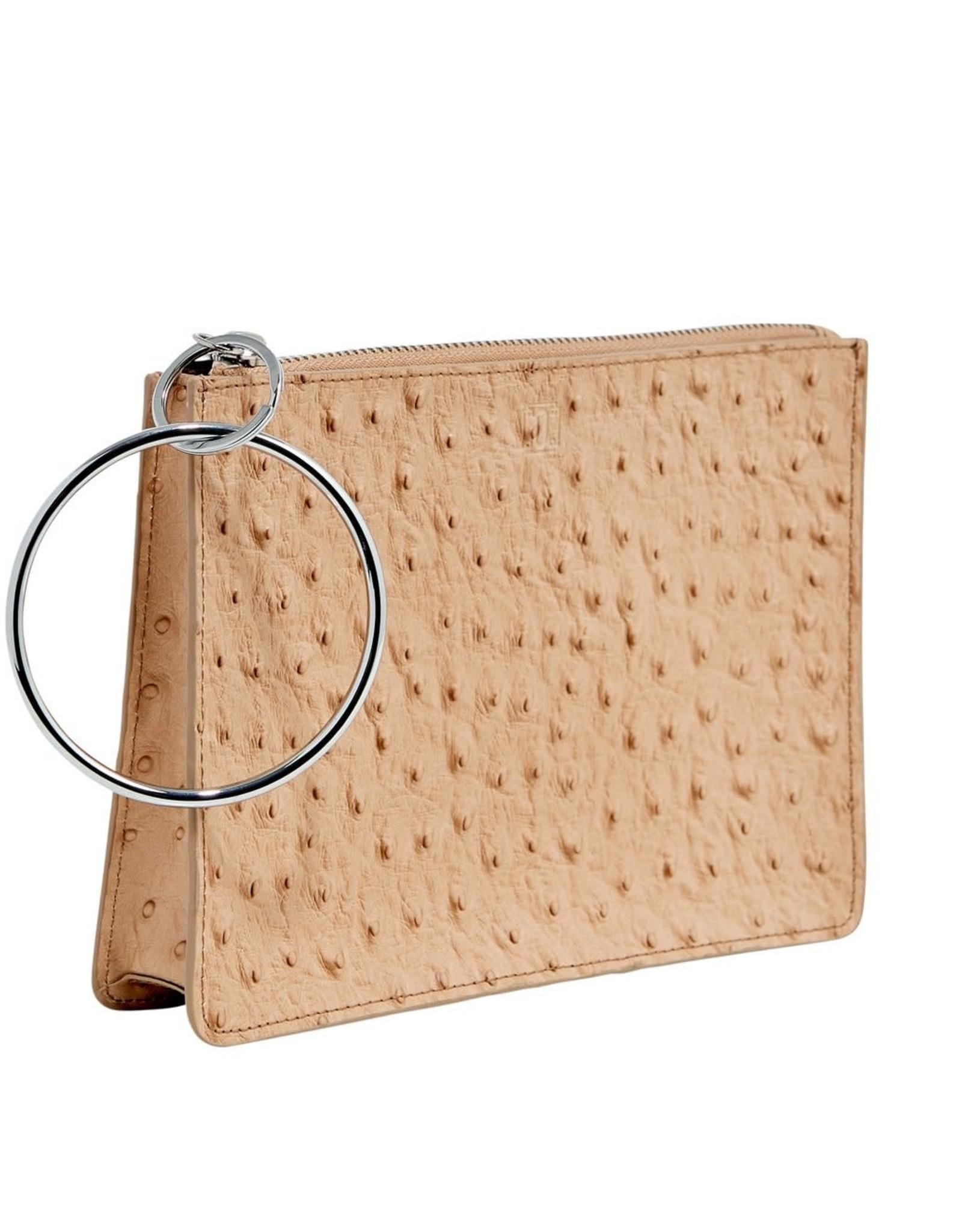 O Ventures Big O Bracelet Bag Mocha Ostrich Leather