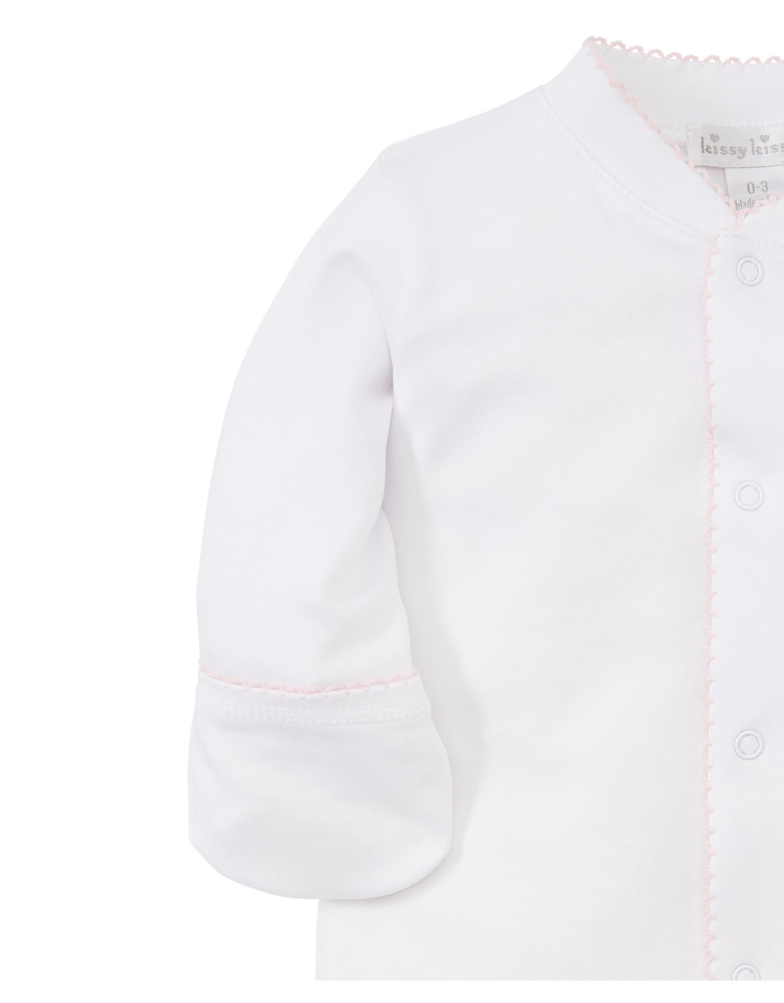 Kissy Kissy Footie White body/Pink stitching