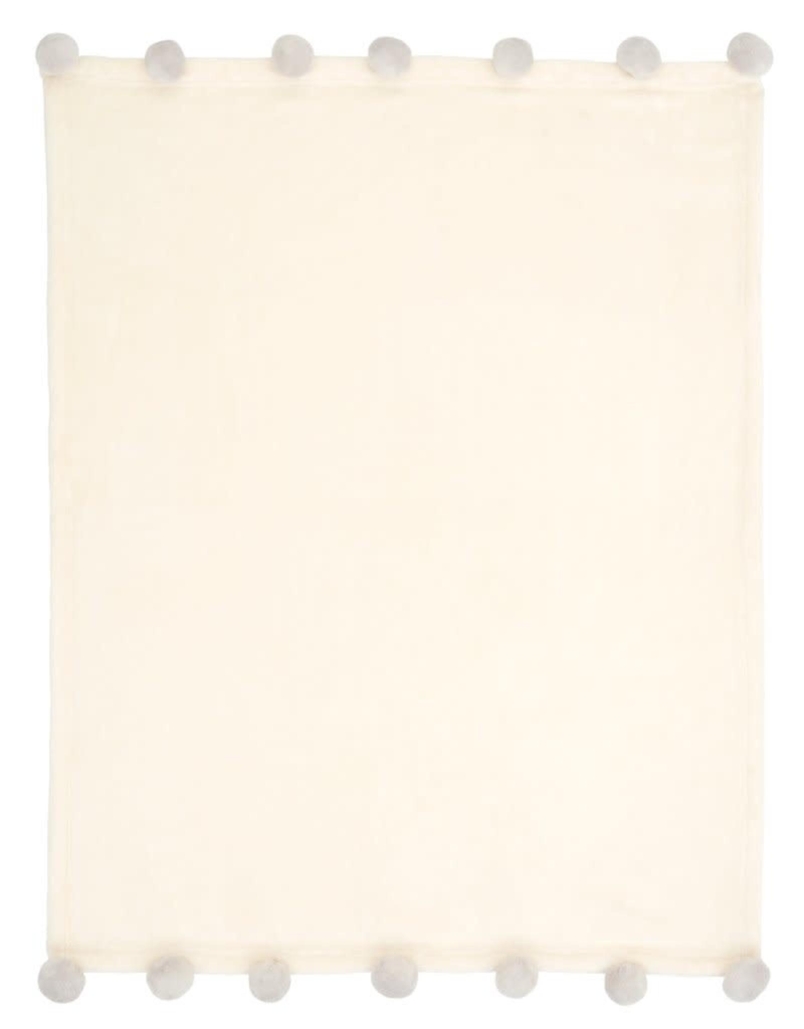 Elegant Baby Blanket Grey Poms