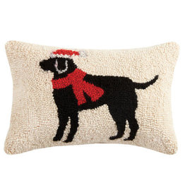 Pillow Hooked Christmas Black Lab