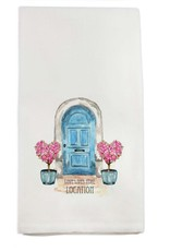 French Graffiti Blue Door Lake Forest Towel
