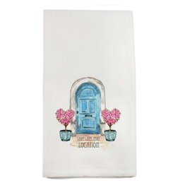 French Graffiti Blue Door Home Sweet  Home Towel